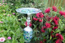 DIY colorful mosaic bird feeder