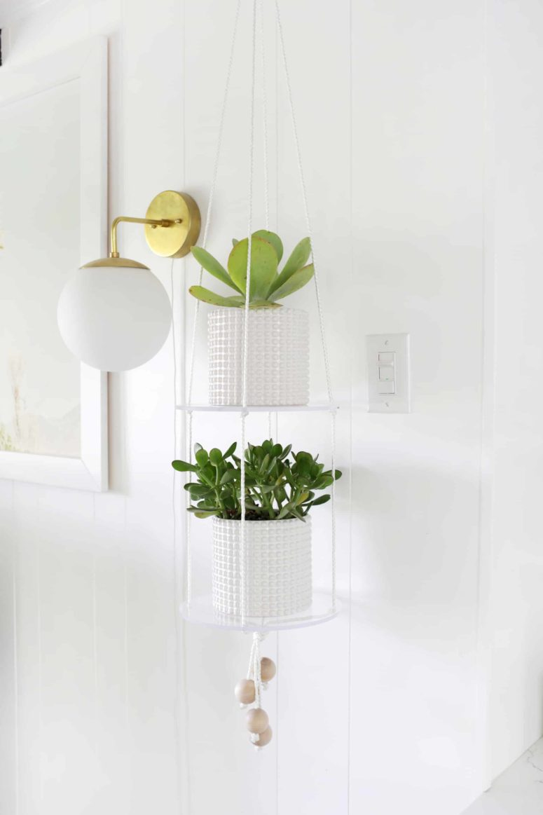 DIY hanging acrylic shelf that seems floating in mid-air (via abeautifulmess.com)