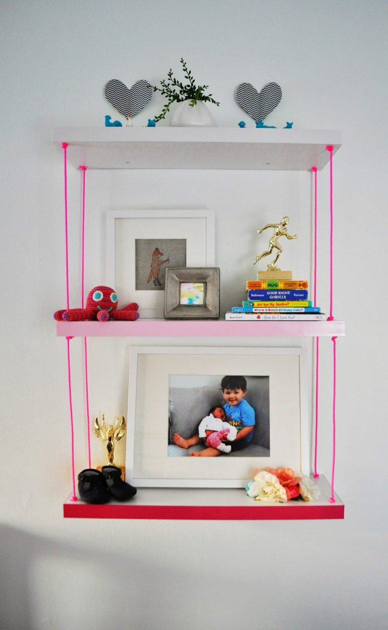DIY hanging pink shelf with an ombre effect (via www.ducklingsinarow.com)