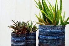 DIY denim planters of jeans seams