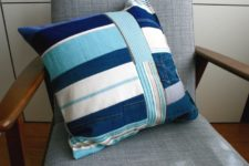 DIY upcycled denim pillow cover
