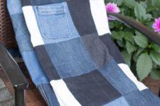 DIY old jeans picnic blanket