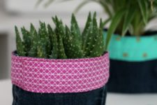DIY upcycled denim planter with a bright touch