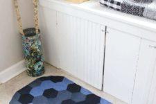 DIY chevron denim rug