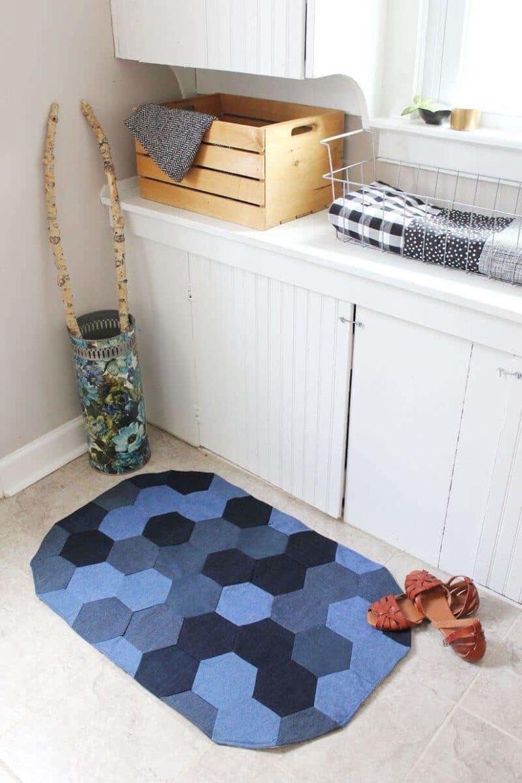 DIY chevron denim rug (via abeautifulmess.com)