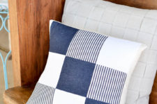 DIY quilted denim pillow with a nautical touch