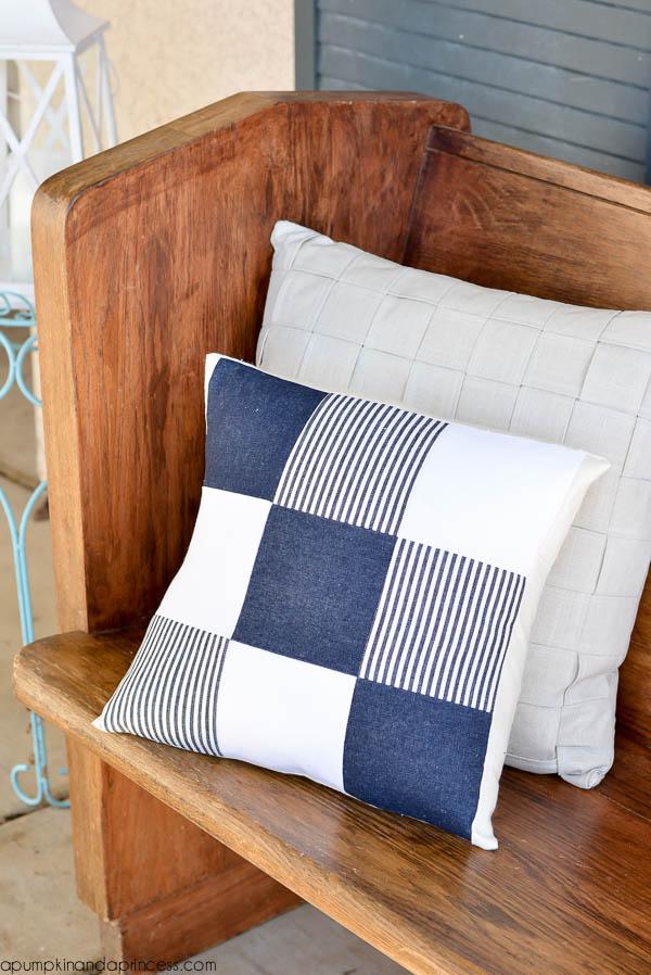 DIY quilted denim pillow with a nautical touch (via apumpkinandaprincess.com)