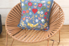 DIY denim and colorful patch pillow