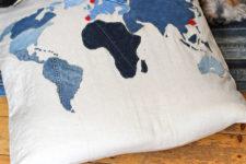 DIY denim map floor cushion