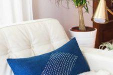 DIY denim Sashiko embroidered pillow