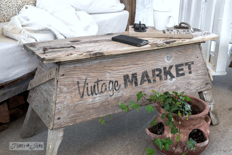 DIY rustic meets shabby chic pallet wood sawhorse coffee table (via www.funkyjunkinteriors.net)