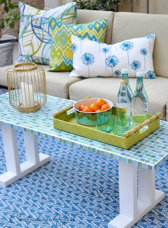 DIY bright mosaic tile covered coffee table