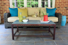 DIY blue wood and dark metal patio coffee table