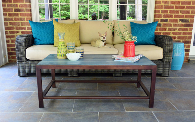 DIY blue wood and dark metal patio coffee table (via www.younghouselove.com)
