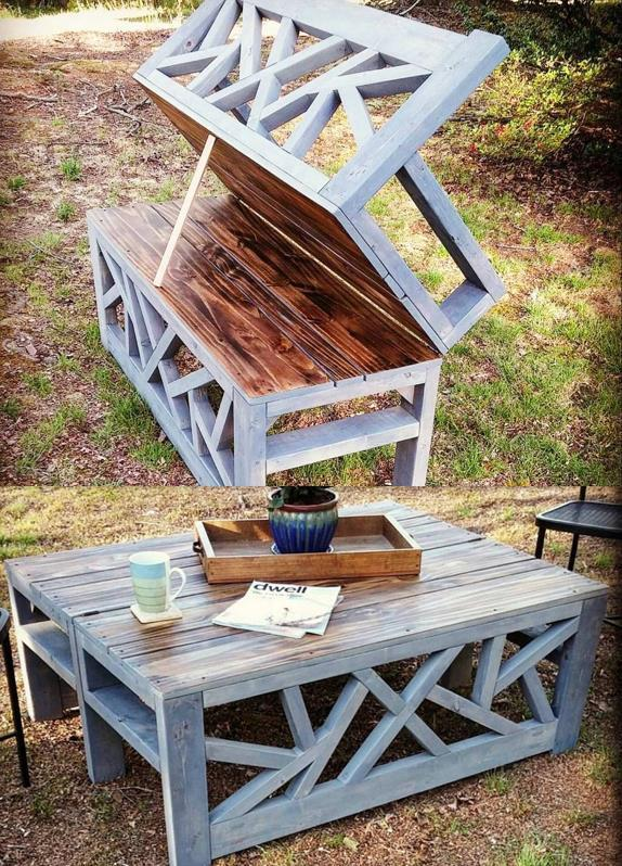 DIY convertible pallet coffee table that doubles as a bench