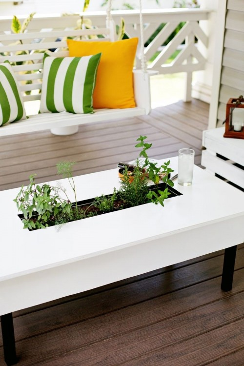 DIY patio coffee table with a herb garden integrated