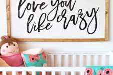 large DIY nursery sign for a rustic space