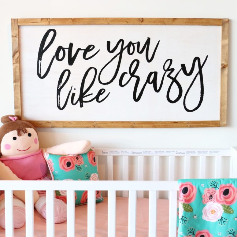large DIY nursery sign for a rustic space (via cadenlane.com)