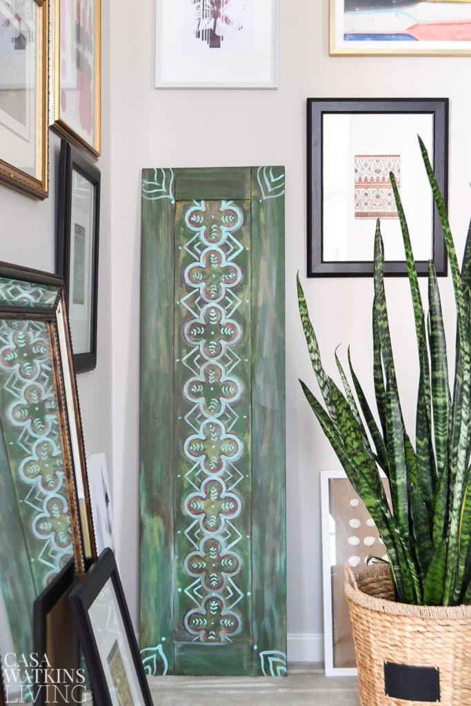 DIY Moroccan wood art done on an old door (via casawatkinsliving.com)