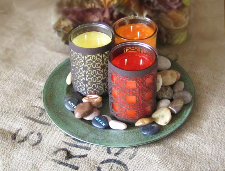 DIY Moroccan-inspired candle wraps (via www.365designs.com)