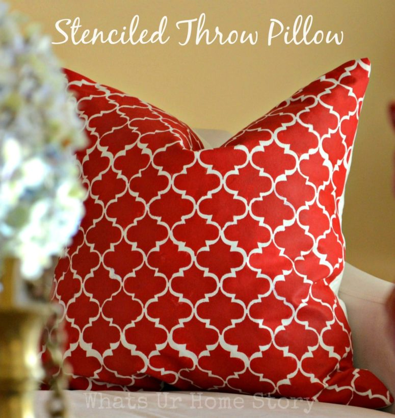 DIY stenciled throw pillow with a Moroccan pattern (via www.whatsurhomestory.com)