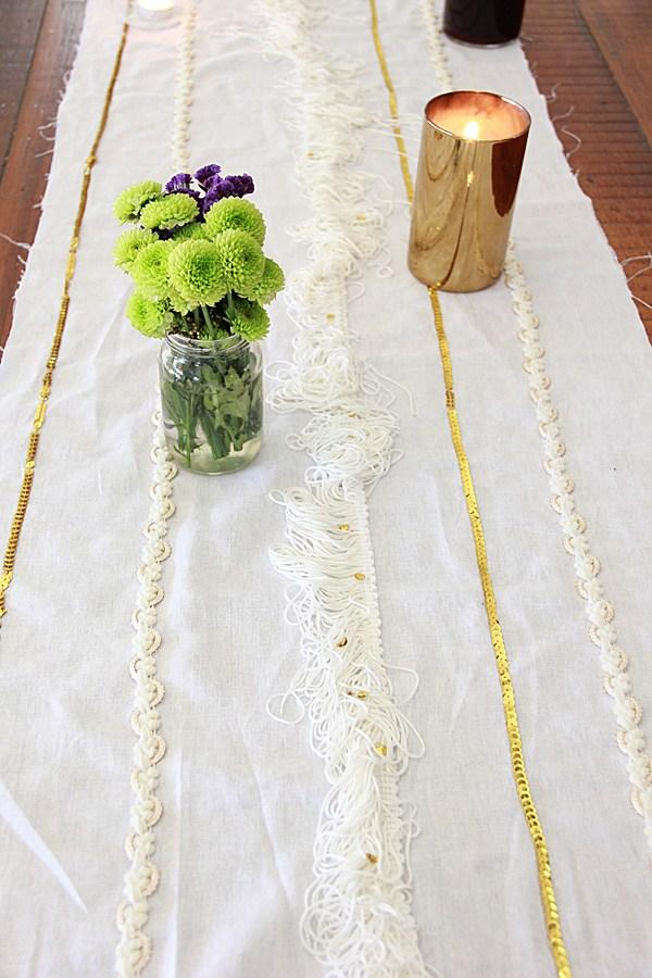 beautiful DIY Moroccan wedding blanket table runner (via abubblylife.com)