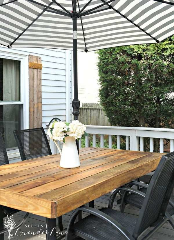 DIY outdoor dining table with honey-colored stain (via www.bobvila.com)