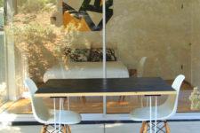 DIY burnt cedar outdoor dining table with hairpin legs