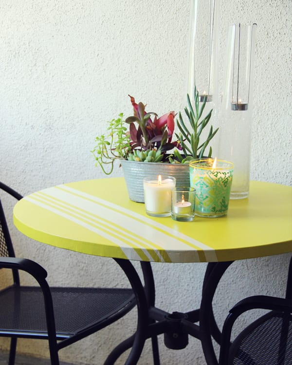DIY colorful striped round outdoor dining table  (via lovelyindeed.com)
