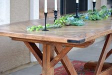 DIY chevron pattern outdoor dining table