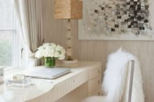 02 a clear acrylic chair with a faux fur cover for a home office or a vanity space is a gorgeous glam idea