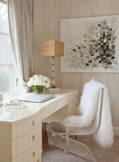 a clear acrylic chair with a faux fur cover for a home office or a vanity space is a gorgeous glam idea