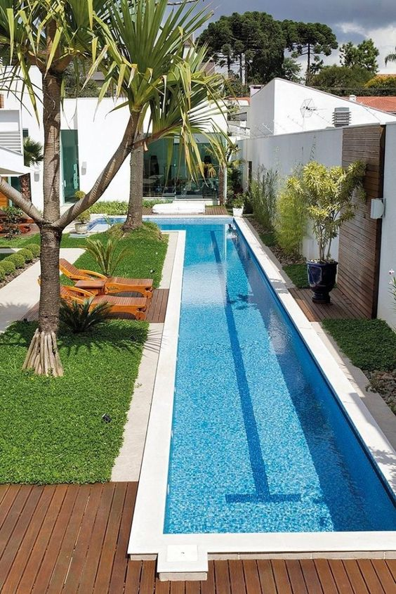 a contemporary backyard with a long and narrow L-shaped pool, green grass, loungers and trees