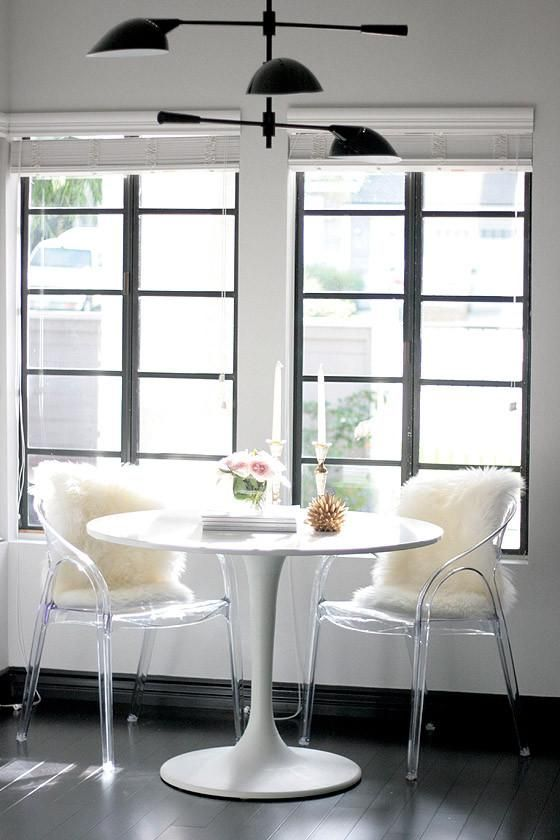 acrylic chairs in your dining space will raise it to a new level and give it a bold and modern feel