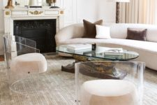 05 amazing round acrylic chairs with creamy upholstery that seems to be floatign in the mid-air
