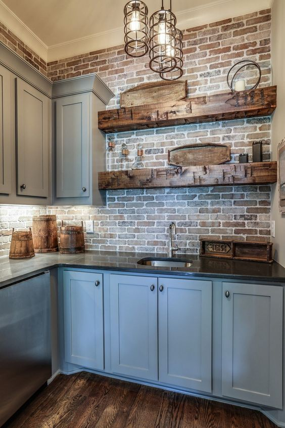 rough wood slab shelves are amazing to create a homey feel in the kitchen