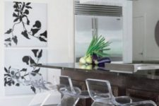 06 clear acrylic stools contrast the dark stained kitchen island and make the kitchen more contemporary and refreshed