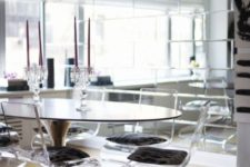 07 clear acrylic stools with an eye-catchy curved shape and upholstered seats for an ultimate dining space
