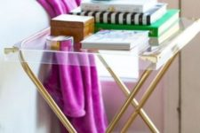 09 a glam nightstand or side table of brass legs and an acrylic tabletop is a super modern idea