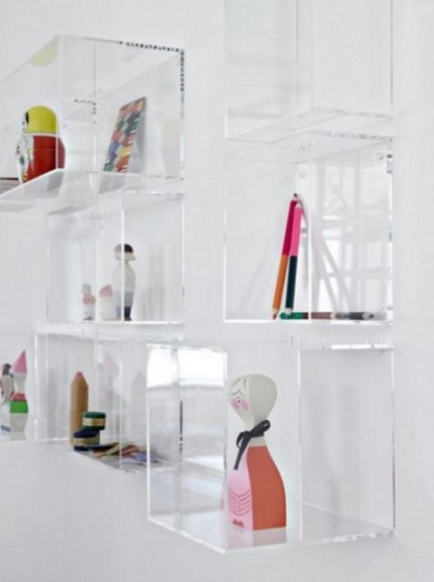 clear acrylic box shelves on the wall look very airy and all the items will seem to be floating in mid air