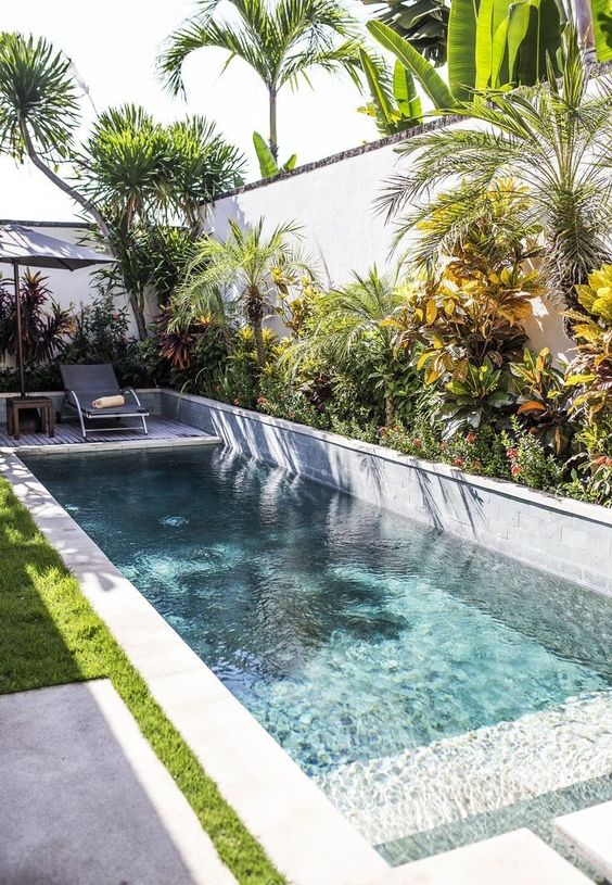 a lush tropical garden, a couple of loungers and a small and narrow pool clad with mosaic tiles