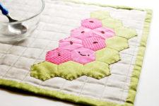 DIY hexagon watermelon placemat