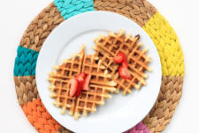 DIY pinwheel placemats with bright painted sections