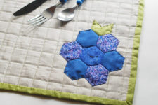 DIY hexagon blueberry or raspberry placemat