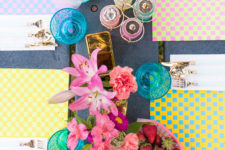 DIY woven paper placemats of bright cardstock