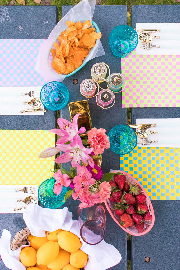 DIY woven paper placemats of bright cardstock (via www.clubcrafted.com)