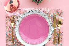 DIY clear confetti placemat