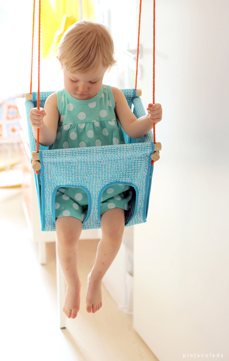 DIY fabric baby swing with retro design (via www.pinjacolada.com)