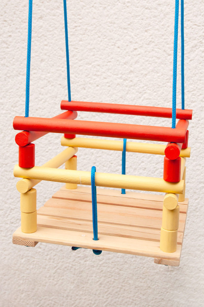 DIY colorful wooden swing built from scrap (via yeswemadethis.com)