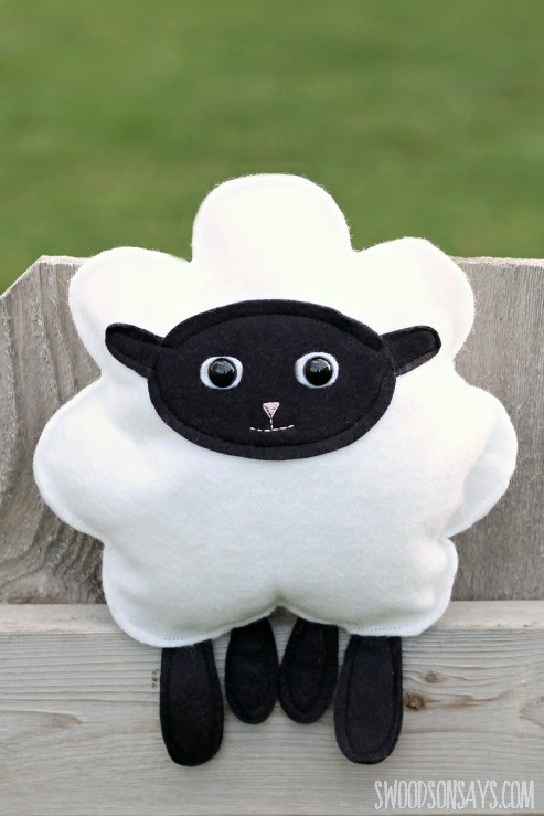 DIY black and white sheep plushie
